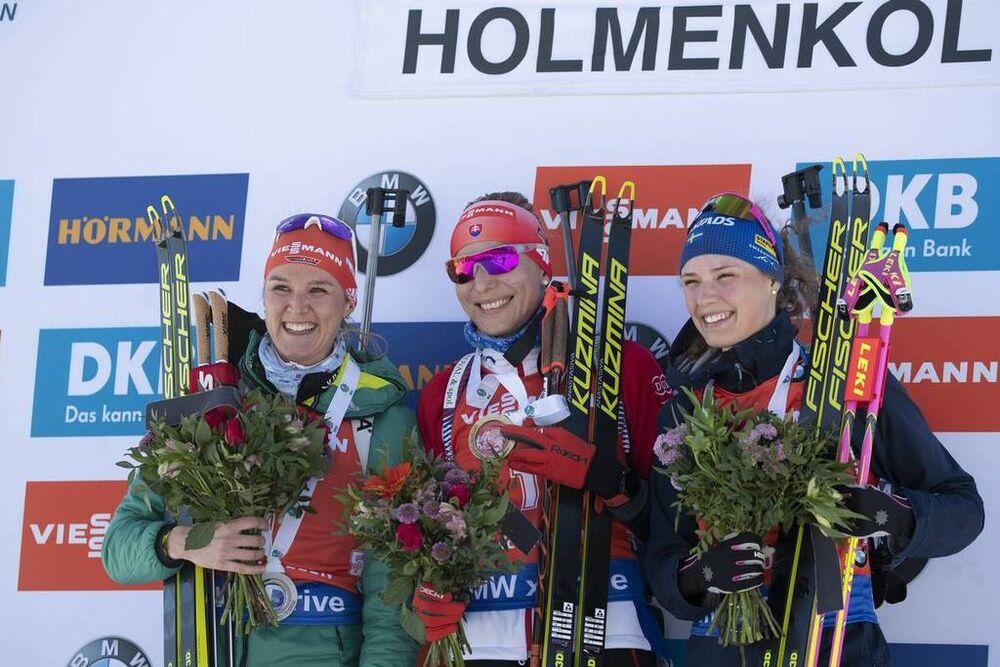 23.03.2019, Oslo, Norway (NOR):Denise Herrmann (GER), Anastasiya Kuzmina (SVK), Hanna Oeberg (SWE), (l-r) - IBU world cup biathlon, pursuit women, Oslo (NOR). www.nordicfocus.com. © Manzoni/NordicFocus. Every downloaded picture is fee-liable.