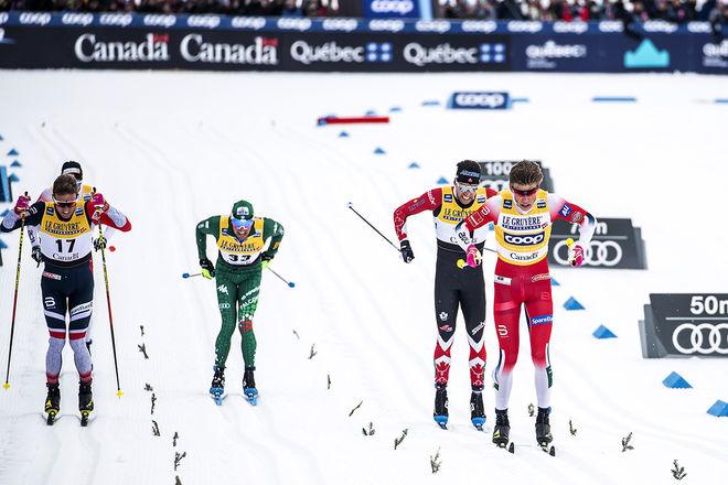 23.03.2019, Quebec, Canada (CAN):Didrik Toenseth (NOR), Francesco De Fabiani (ITA), Alex Harvey (CAN), Johannes Hoesflot Klaebo (NOR), (l-r)  - FIS world cup cross-country, mass men, Quebec (CAN). www.nordicfocus.com. © Modica/NordicFocus. Every downloa