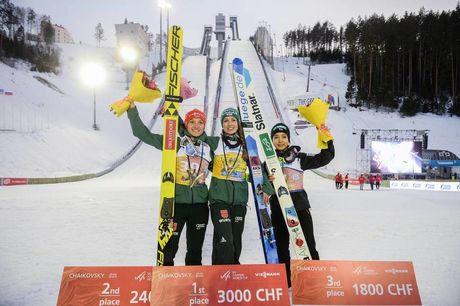 23.03.2019, Chaikovsky, Russia (RUS):Juliane Seyfarth (GER), Sara Takanashi (JPN), Katharina Althaus (GER) - FIS world cup ski jumping ladies, individual HS102, Chaikovsky (RUS). www.nordicfocus.com. © Tumashov/NordicFocus. Every downloaded picture is f