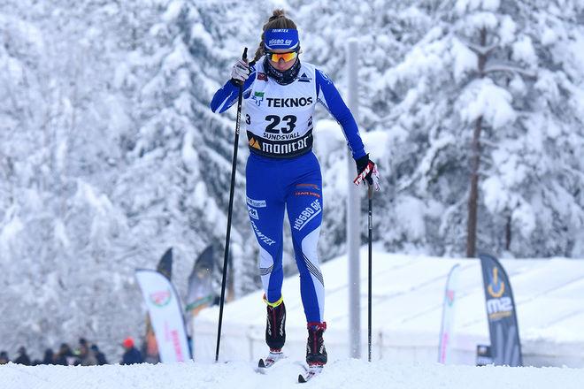 ELLA OLSSON gick ifrån och mer eller mindre avgjorde damstafetten för Gästrikland på den andra sträckan i Kalix. Foto/rights: ROLF ZETTERBERG/kekstock.com