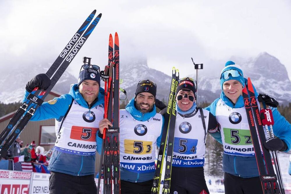 08.02.2019, Canmore, Canada (CAN):Antonin Guigonnat (FRA), Simon Fourcade (FRA), Quentin Fillon Maillet (FRA), Emilien Jacquelin (FRA), (l-r) -  IBU world cup biathlon, relay men, Canmore (CAN). www.nordicfocus.com. © Manzoni/NordicFocus. Every download