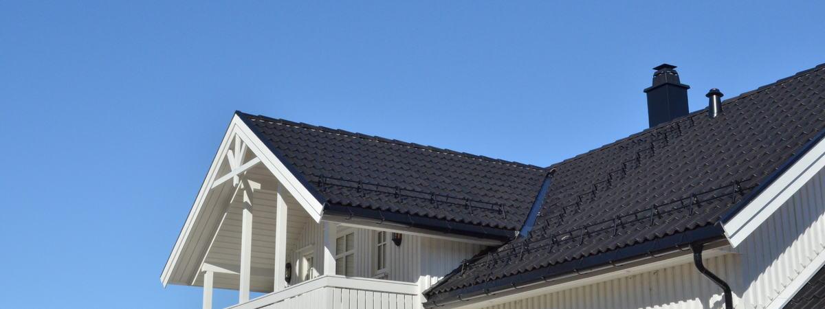 Hustak med stige og pipe