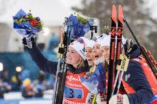 16.03.2019, Oestersund, Sweden (SWE):Synnoeve Solemdal (NOR), Ingrid Landmark Tandrevold (NOR), Tiril Eckhoff (NOR), Marte Olsbu Roeiseland (NOR) - IBU world championships biathlon, relay women, Oestersund (SWE). www.nordicfocus.com. © Tumashov/NordicFo