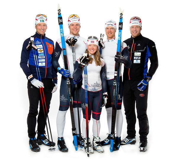 NU ÄR DET SLUT också för Team Tynell, fr v: Jerry Ahrlin, Rikard Tynell, Laila Kveli, Jens Eriksson och Daniel Tynell. Foto: FOTOGRAF HELENE. FALUN