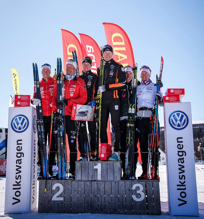 PALLEN I HERRARNAS SM teamsprint: Falun-Borlänge SK vann före Borås SK och Piteå Elit. Foto: SOFIA HENRIKSSON