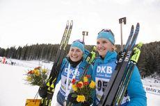 08.12.2018, Pokljuka, Slovenia (SLO):Justine Braisaz (FRA), Julia Simon (FRA), (l-r) - IBU world cup biathlon, sprint women, Pokljuka (SLO). www.nordicfocus.com. © Manzoni/NordicFocus. Every downloaded picture is fee-liable.