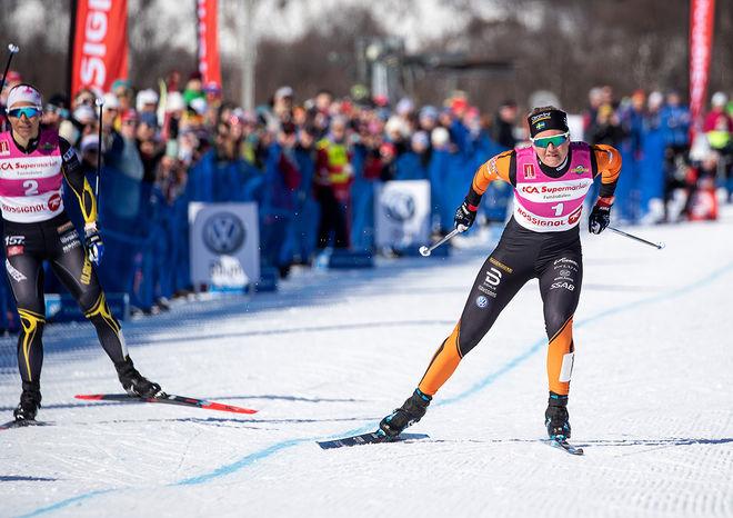 MAJA DAHLQVIST på väg mot världsrekordtiden 12,20 i supersprint-finalen i Ramundberget. Hon slog Johanna Hagström i finalen. Foto: JOCKE LAGERKRANTZ