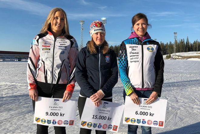OCH HÄR är dom tre bästa damerna totalt, fr v: Evelina Bångman, Offerdal (2:a), Lisa K Svensson, Åsarna (1:a) och Sara Jakobsson (Lindborg), ÖSK (3:a).
