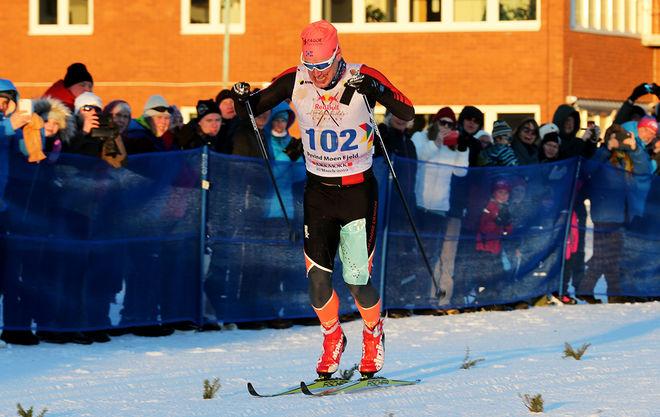 ØYVIND MOEN FJELD är en av dom starkaste åkarna i Visma Ski Classics. Här spurtar han in som tvåa i RedBull Nordenskiöldsloppet i Jokkmokk. Foto/rights: KJELL-ERIK KRISTIANSEN/kekstock.com