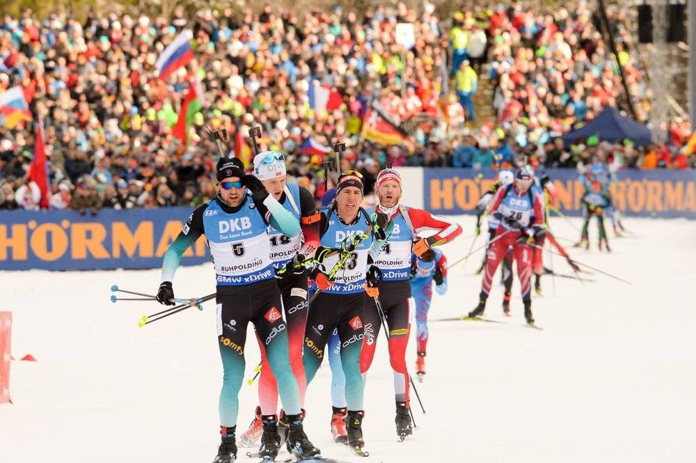 20.01.2019, Ruhpolding, Germany (GER):Quentin Fillon Maillet (FRA), Vetle Sjaastad Christiansen (NOR), Simon Eder (AUT) -  IBU world cup biathlon, mass men, Ruhpolding (GER). www.nordicfocus.com. © Tumashov/NordicFocus. Every downloaded picture is fee-l