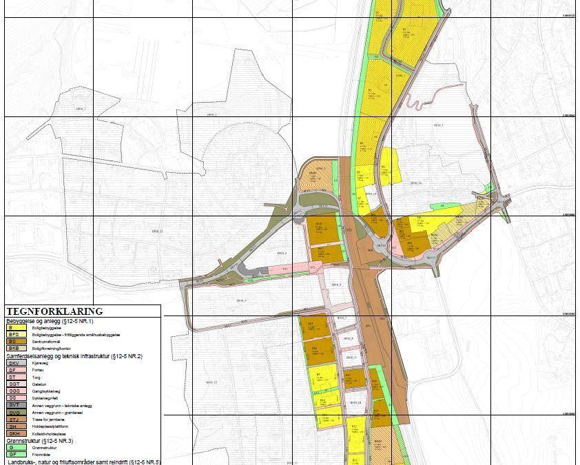 Sentrumsplan - utsnitt av plankartet