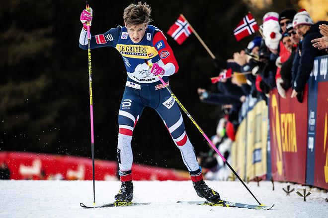 JOHANNES HØSFLOT KLÆBO är först på Alpe Cermis och vinner Tour de Ski 2019. Redan kommande vinter kan det hända att vinnaren här inte automatiskt vinner touren. Foto/rights: NORDIC FOCUS
