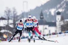 22.02.2019, Seefeld, Austria (AUT):Yoshito Watabe (JPN), Antoine Gerard (FRA), Jarl Magnus Riiber (NOR), (l-r)  - FIS nordic world ski championships, nordic combined, individual gundersen HS130/10km, Seefeld (AUT). www.nordicfocus.com. © Modica/NordicFo