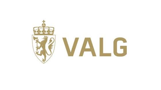 Logo for valg med riksløve i gull