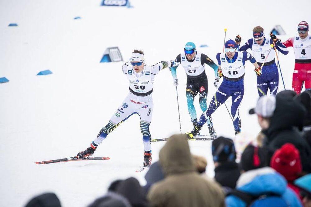 22.03.2019, Quebec, Canada (CAN):Maurice Manificat (FRA), Ristomatti Hakola (FIN), Joni Maeki (FIN), Eirik Brandsdal (NOR), Teodor Peterson (SWE), (l-r)  - FIS world cup cross-country, individual sprint, Quebec (CAN). www.nordicfocus.com. © Modica/Nordi