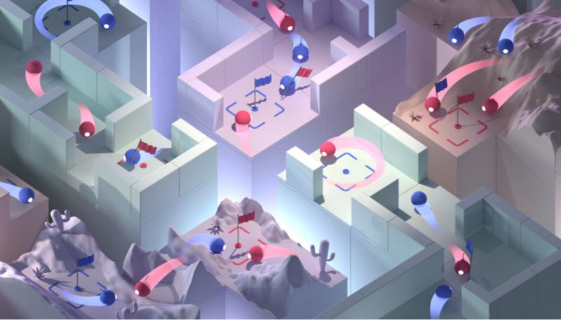 En illustrasjon som viser forskjellige strategier disse kunstige intelligensene brukte når de spilte. (Bilde: DeepMind)