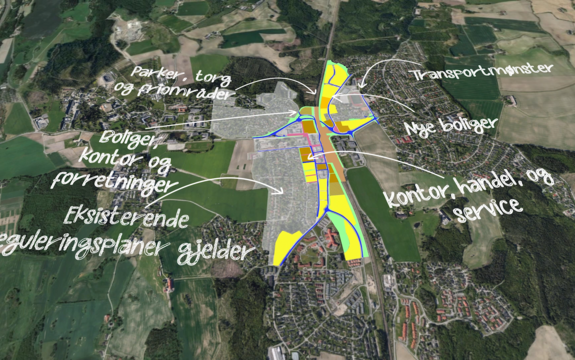 Kart for plan over Ås sentralområde