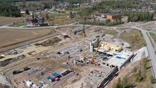 Dronebilde fra byggeplassen for nytt helse- og omsorgssenter