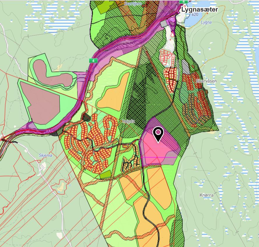 Pilen i kartet viser det aktuelle planområdet.