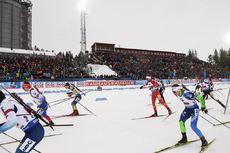 16.03.2019, Oestersund, Sweden (SWE):Anton Smolski (BLR), Christian Gow (CAN), Krasimir Anev (BUL), Michal Sima (SVK), Florent Claude (BEL) - IBU world championships biathlon, relay men, Oestersund (SWE). www.nordicfocus.com. © Tumashov/NordicFocus. Eve