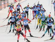 20.01.2019, Ruhpolding, Germany (GER):Event Feature: start -  IBU world cup biathlon, mass men, Ruhpolding (GER). www.nordicfocus.com. © Tumashov/NordicFocus. Every downloaded picture is fee-liable.