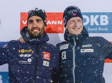 22.03.2018, Tyumen, Russia (RUS):Martin Fourcade (FRA), Johannes Thingnes Boe (NOR) - IBU world cup biathlon, cups, Tyumen (RUS). www.nordicfocus.com. © Tumashov/NordicFocus. Every downloaded picture is fee-liable.