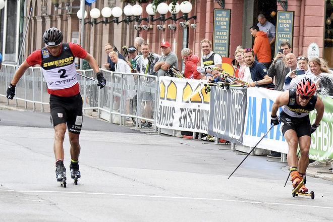 SÅ LITE skillde mellan Karl-Johan Westberg (tv) och Victor Gustafsson över mållinjen. Foto/rights: ROLF ZETTERBERG/kekstock.com