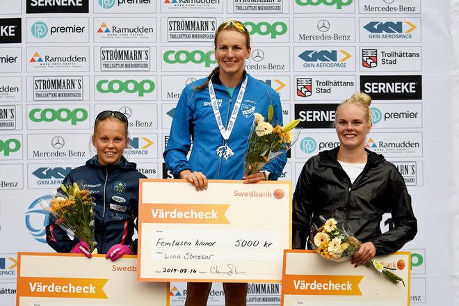 LINN SÖMSKAR (mitten) åter igen på toppen av pallen i en rullskidtävling. Nu med Sandra Hansson (tv) som tvåa och Jackline Lockner som trea. Foto/rights: ROLF ZETTERBERG/kekstock.com