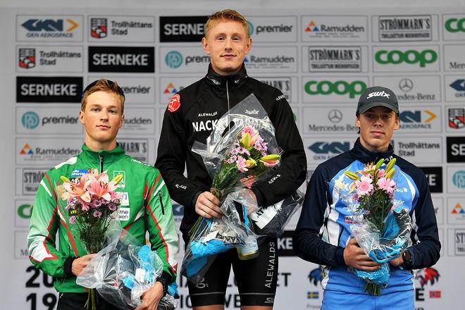 JOHAN EKBERG (mitten) visade sig igen som den bäste junioren på rullskidor. Han vann Alliansloppet över 32 km före Amund Riege (tv) och Olaf Talmo. Foto/rights: ROLF ZETTERBERG/kekstock.com