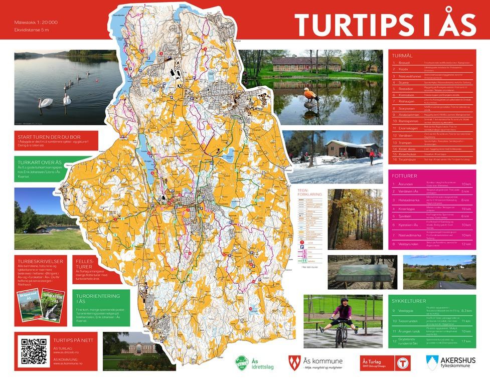 Turkart Med 14 Ulike Turforslag I As As Kommune