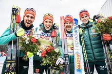 02.03.2019, Seefeld, Austria (AUT):Johannes Rydzek (GER), Eric Frenzel (GER), Fabian Riessle (GER), Vinzenz Geiger (GER), (l-r)  - FIS nordic world ski championships, nordic combined, team HS109/4x5km, Seefeld (AUT). www.nordicfocus.com. © Modica/Nordic