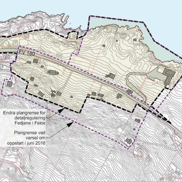 Kart over endra plangrense detaljregulering Fedjane i Feios