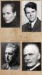 En collage som viser portrettbilder av forfatterne Stein Mehren, Knut Hamsun, Trygve Gulbranssen og Olav H. Hauge