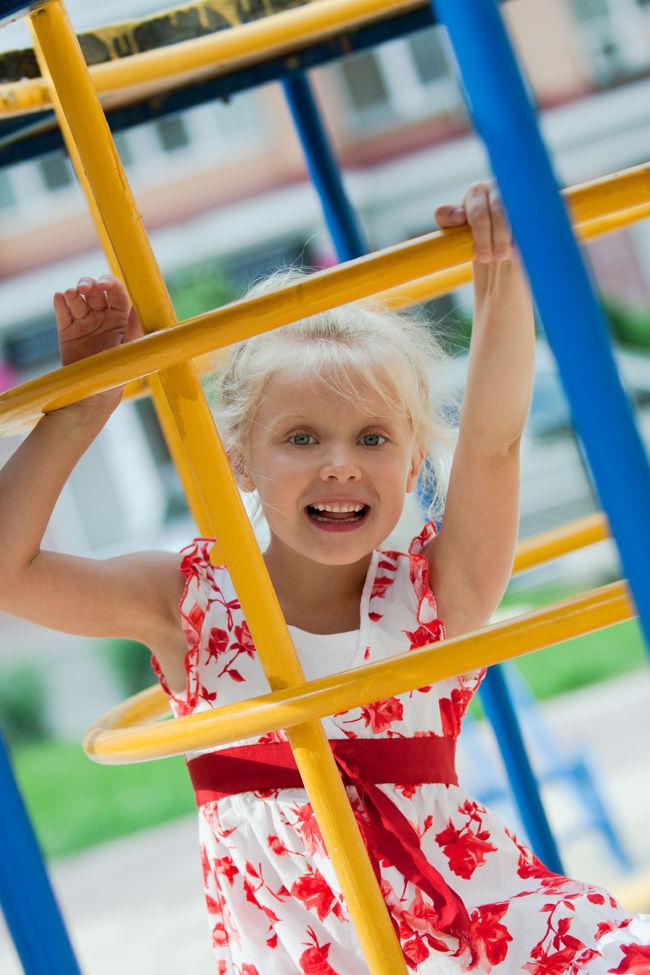 Cute little girl having fun.