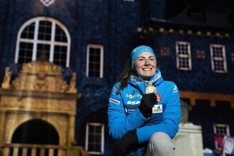 12.03.2019, Oestersund, Sweden (SWE):Justine Braisaz (FRA) - IBU world championships biathlon, medals, Oestersund (SWE). www.nordicfocus.com. © Manzoni/NordicFocus. Every downloaded picture is fee-liable.