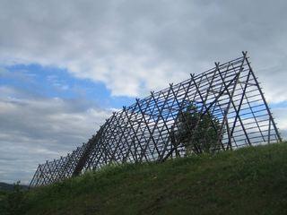 """Bildet viser """"Else"""", en fiskehjell-skulptur i Tromsø"""