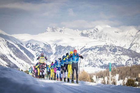 19.01.2019, St. Moritz, Switzerland (SUI):Tord Asle Gjerdalen (NOR), Petter Eliassen (NOR), Chris Andre Jespersen (NOR), Andreas  Holmberg (SWE), Klas  Nilsson (SWE), (l-r)  - Visma Ski Classics La Diagonela, St. Moritz (SUI). www.nordicfocus.com. © Mod