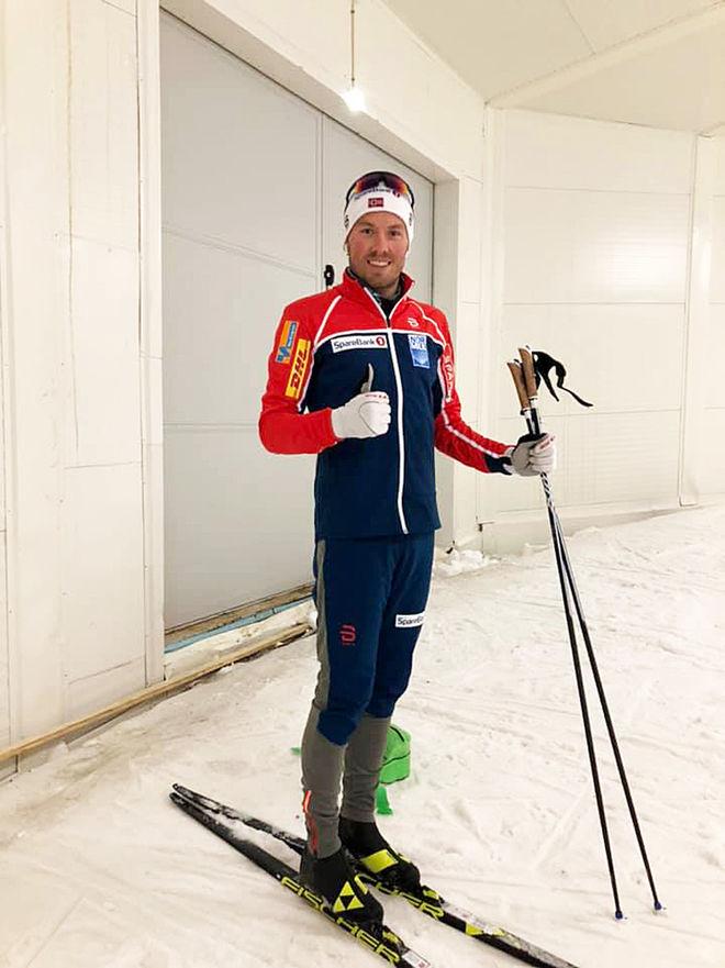 DUBBLA VÄRLDSMÄSTAREN Emil Iversen är en av alla norrmän som tränar i MidSweden-tunneln i Gällö den här veckan .