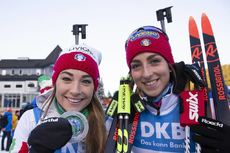 08.12.2018, Pokljuka, Slovenia (SLO):Dorothea Wierer (ITA), Lisa Vittozzi (ITA), (l-r) - IBU world cup biathlon, sprint women, Pokljuka (SLO). www.nordicfocus.com. © Manzoni/NordicFocus. Every downloaded picture is fee-liable.