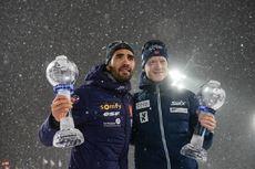 22.03.2018, Tyumen, Russia (RUS):Johannes Thingnes Boe (NOR), Martin Fourcade (FRA) - IBU world cup biathlon, cups, Tyumen (RUS). www.nordicfocus.com. © Tumashov/NordicFocus. Every downloaded picture is fee-liable.