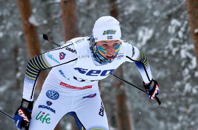 """DEN LOVANDE junioren Tilde Bångman från Offerdal är en av åkarna som får 10.000 kronor från """"Hjärtat slår för skidor"""". Här från det iskalla JVM"""