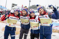 01.03.2019, Seefeld, Austria (AUT):Emil Iversen ((NOR)), Martin Johnsrud Sundby ((NOR)), Sjur Roethe ((NOR)), Johannes Hoesflot Klaebo ((NOR)) - FIS nordic world ski championships, cross-country, 4x10km men, Seefeld (AUT). www.nordicfocus.com. © Modica/