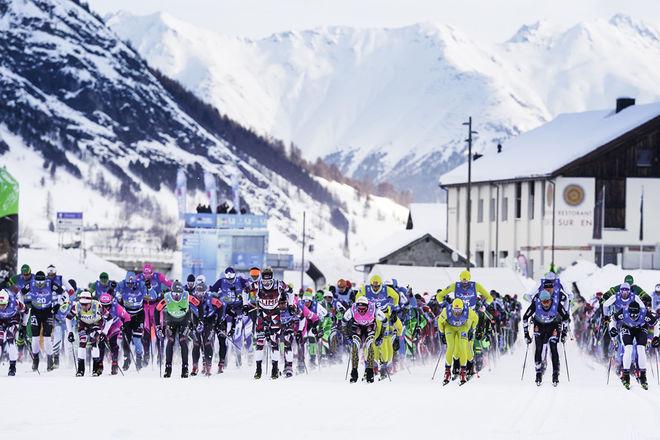 VISMA fortsätter som titelsponsor för Ski Classics. Här från La Diagonela i schweiziska Zuoz i Engadin-dalen. Foto: MAGNUS ÖSTH