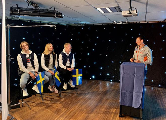 ALEXANDER MELIN, Kerstin Näslund och Emil Hagström är numera välkända i Norge efter att ha spelat in reklamfilm med norska sprintlaget. Finn Hågen Krogh var programledare. Foto: LINDA BENGTSSON