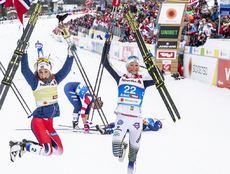 02.03.2019, Seefeld, Austria (AUT):Ingvild Flugstad Oestberg (NOR), Therese Johaug (NOR), Frida Karlsson (SWE), (l-r)  - FIS nordic world ski championships, cross-country, mass women, Seefeld (AUT). www.nordicfocus.com. © Modica/NordicFocus. Every downl