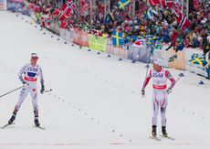 27.02.2015, Falun, Sweden (SWE): Petter Northug (NOR), Calle Halfvarsson (SWE), (l-r) - FIS nordic world ski championships, cross-country, 4x10km men, Falun (SWE). www.nordicfocus.com. © NordicFocus. Every downloaded picture is fee-liable.