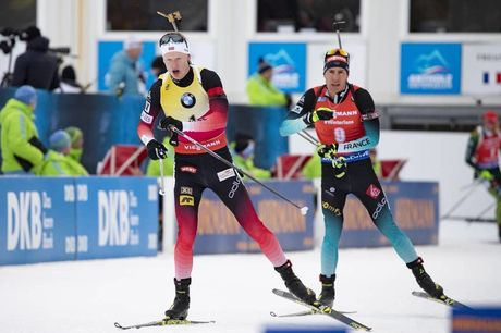 27.01.2019, Antholz, Italy (ITA):Johannes Thingnes Boe (NOR), Quentin Fillon Maillet (FRA), (l-r) -  IBU world cup biathlon, mass men, Antholz (ITA). www.nordicfocus.com. © Manzoni/NordicFocus. Every downloaded picture is fee-liable.