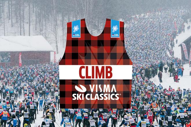 NU BLIR det poäng på bergatröjan i Visma Ski Classics på toppen av den första backen i Vasaloppet. Foto: VASALOPPET