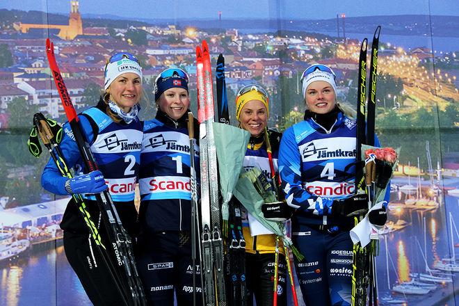 FINALFÄLTET i damernas supersprint i Östersund, fr v: Linn Sömskar (2:a), Marte Nordlunde (1:a), Lina Korsgren (3:a) och Jackline Lockner (4:a). Foto/rights: KJELL-ERIK KRISTIANSEN/kekstock.com