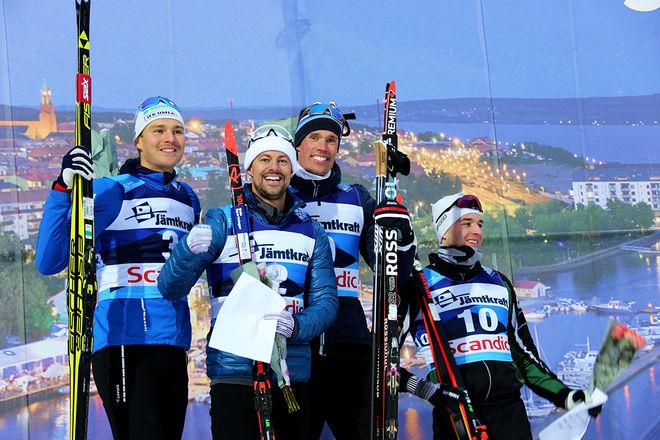 GOD STÄMNING bland dom fyra bästa herrarna i supersprinten i Östersund, fr v: Marcus Grate (2:a), Ludde Jensen (1:a), Ragnar Bragvin Andresen (3:a) och Johannes Hortlund (4:a). Foto/rights: KJELL-ERIK KRISTIANSEN/kekstock.com